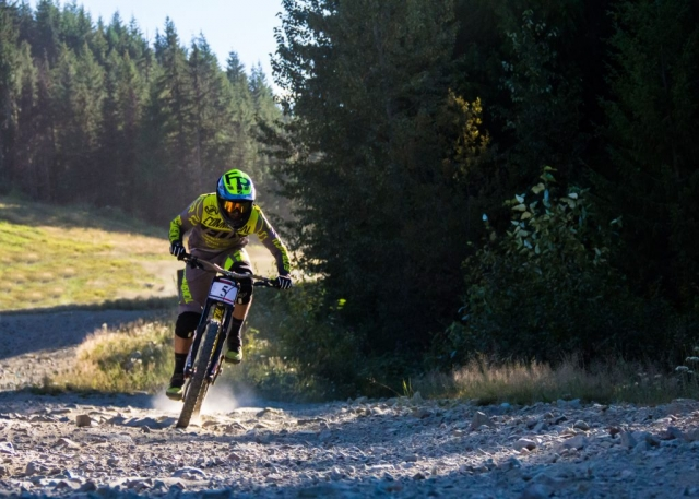 Remi Thirion pedaling hard through a flat section of the world famous A-Line run